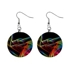 Dancing Northern Lights, Abstract Summer Sky  Mini Button Earrings by DianeClancy