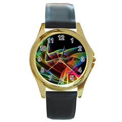 Dancing Northern Lights, Abstract Summer Sky  Round Leather Watch (gold Rim)  by DianeClancy
