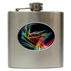 Dancing Northern Lights, Abstract Summer Sky  Hip Flask by DianeClancy