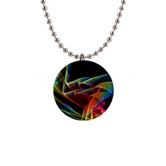 Dancing Northern Lights, Abstract Summer Sky  Button Necklace by DianeClancy