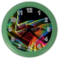 Dancing Northern Lights, Abstract Summer Sky  Wall Clock (color) by DianeClancy