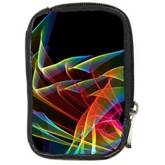 Dancing Northern Lights, Abstract Summer Sky  Compact Camera Leather Case by DianeClancy
