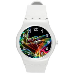 Dancing Northern Lights, Abstract Summer Sky  Plastic Sport Watch (medium) by DianeClancy
