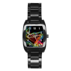 Dancing Northern Lights, Abstract Summer Sky  Stainless Steel Barrel Watch by DianeClancy