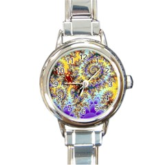 Desert Winds, Abstract Gold Purple Cactus  Round Italian Charm Watch by DianeClancy