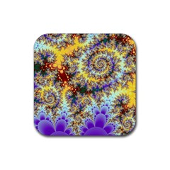 Desert Winds, Abstract Gold Purple Cactus  Drink Coasters 4 Pack (square)
