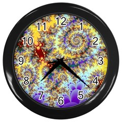 Desert Winds, Abstract Gold Purple Cactus  Wall Clock (black) by DianeClancy