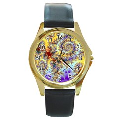 Desert Winds, Abstract Gold Purple Cactus  Round Leather Watch (gold Rim)  by DianeClancy