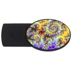 Desert Winds, Abstract Gold Purple Cactus  2gb Usb Flash Drive (oval) by DianeClancy