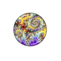 Desert Winds, Abstract Gold Purple Cactus  Golf Ball Marker (for Hat Clip) by DianeClancy