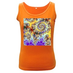 Desert Winds, Abstract Gold Purple Cactus  Women s Tank Top (dark Colored) by DianeClancy