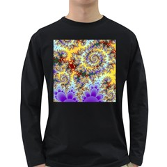 Desert Winds, Abstract Gold Purple Cactus  Men s Long Sleeve T Shirt (dark Colored) by DianeClancy
