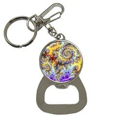 Desert Winds, Abstract Gold Purple Cactus  Bottle Opener Key Chain by DianeClancy