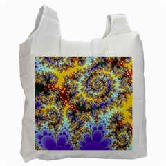 Desert Winds, Abstract Gold Purple Cactus  White Reusable Bag (one Side) by DianeClancy