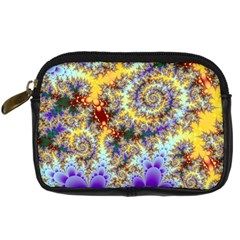 Desert Winds, Abstract Gold Purple Cactus  Digital Camera Leather Case by DianeClancy