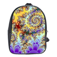 Desert Winds, Abstract Gold Purple Cactus  School Bag (large) by DianeClancy