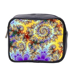 Desert Winds, Abstract Gold Purple Cactus  Mini Travel Toiletry Bag (two Sides) by DianeClancy
