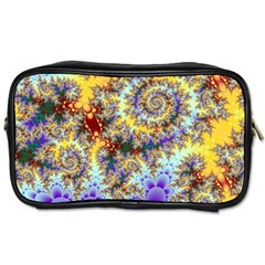Desert Winds, Abstract Gold Purple Cactus  Travel Toiletry Bag (two Sides) by DianeClancy