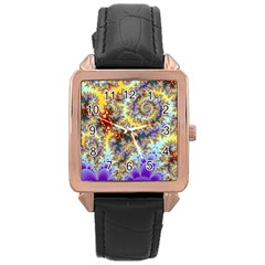Desert Winds, Abstract Gold Purple Cactus  Rose Gold Leather Watch  by DianeClancy