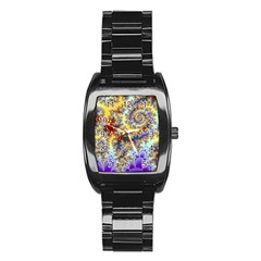 Desert Winds, Abstract Gold Purple Cactus  Stainless Steel Barrel Watch by DianeClancy