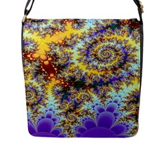 Desert Winds, Abstract Gold Purple Cactus  Flap Closure Messenger Bag (large) by DianeClancy
