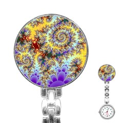 Desert Winds, Abstract Gold Purple Cactus  Stainless Steel Nurses Watch
