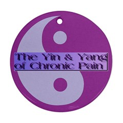 Yin & Yang Of Chronic Pain Round Ornament (two Sides) by FunWithFibro