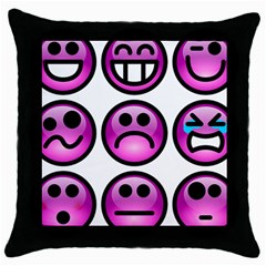 Chronic Pain Emoticons Black Throw Pillow Case by FunWithFibro