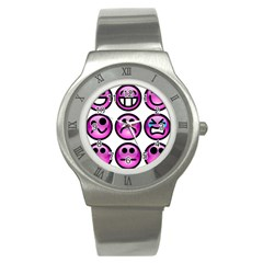 Chronic Pain Emoticons Stainless Steel Watch (slim) by FunWithFibro