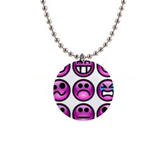 Chronic Pain Emoticons Button Necklace by FunWithFibro