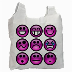 Chronic Pain Emoticons White Reusable Bag (one Side) by FunWithFibro