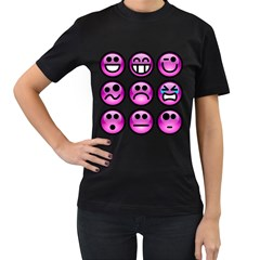 Chronic Pain Emoticons Women s T Shirt (black) by FunWithFibro