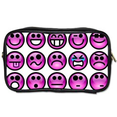 Chronic Pain Emoticons Travel Toiletry Bag (two Sides) by FunWithFibro