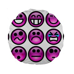 Chronic Pain Emoticons 15  Premium Round Cushion  by FunWithFibro