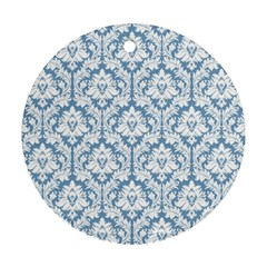 White On Light Blue Damask Round Ornament by Zandiepants