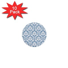 White On Light Blue Damask 1  Mini Button (10 Pack) by Zandiepants