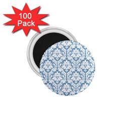 White On Light Blue Damask 1 75  Button Magnet (100 Pack) by Zandiepants