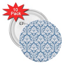 White On Light Blue Damask 2 25  Button (10 Pack) by Zandiepants