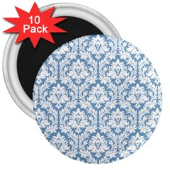 White On Light Blue Damask 3  Button Magnet (10 Pack) by Zandiepants