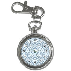 White On Light Blue Damask Key Chain Watch by Zandiepants