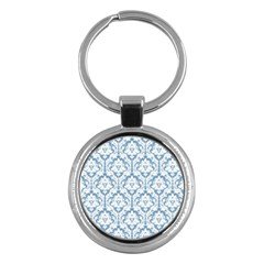 White On Light Blue Damask Key Chain (round) by Zandiepants