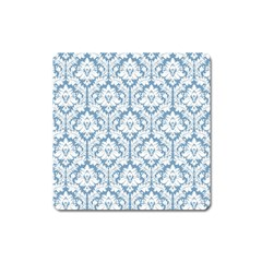 White On Light Blue Damask Magnet (square) by Zandiepants