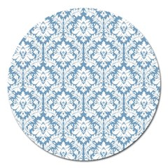 White On Light Blue Damask Magnet 5  (round) by Zandiepants