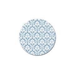 White On Light Blue Damask Golf Ball Marker 10 Pack by Zandiepants