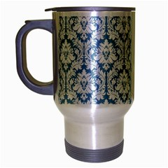 White On Light Blue Damask Travel Mug (silver Gray) by Zandiepants