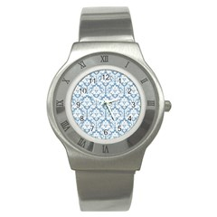 White On Light Blue Damask Stainless Steel Watch (slim) by Zandiepants