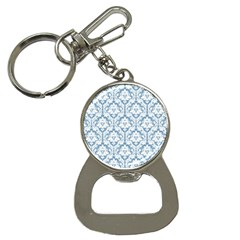 White On Light Blue Damask Bottle Opener Key Chain by Zandiepants