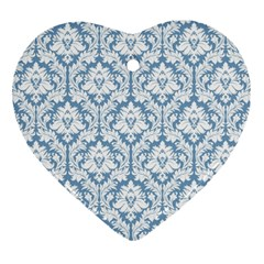 White On Light Blue Damask Heart Ornament (Two Sides) by Zandiepants