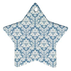 White On Light Blue Damask Star Ornament (two Sides) by Zandiepants