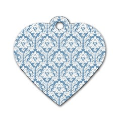 White On Light Blue Damask Dog Tag Heart (One Sided)  by Zandiepants
